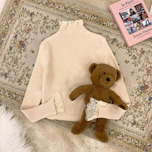 lace neck knit T beige