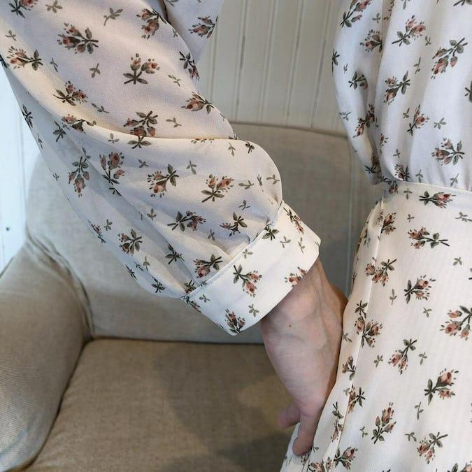 lace up busiter&ciffon mini flower op