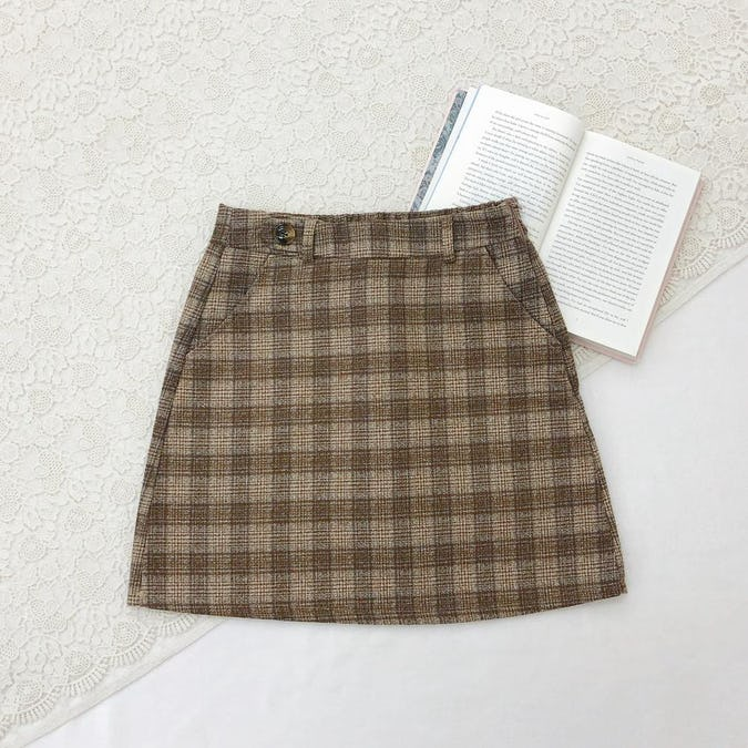girly check mini skirt-0