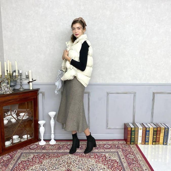 herringbone knit skirt