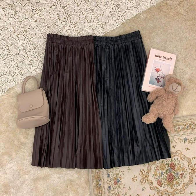 レザープリーツスカート-0