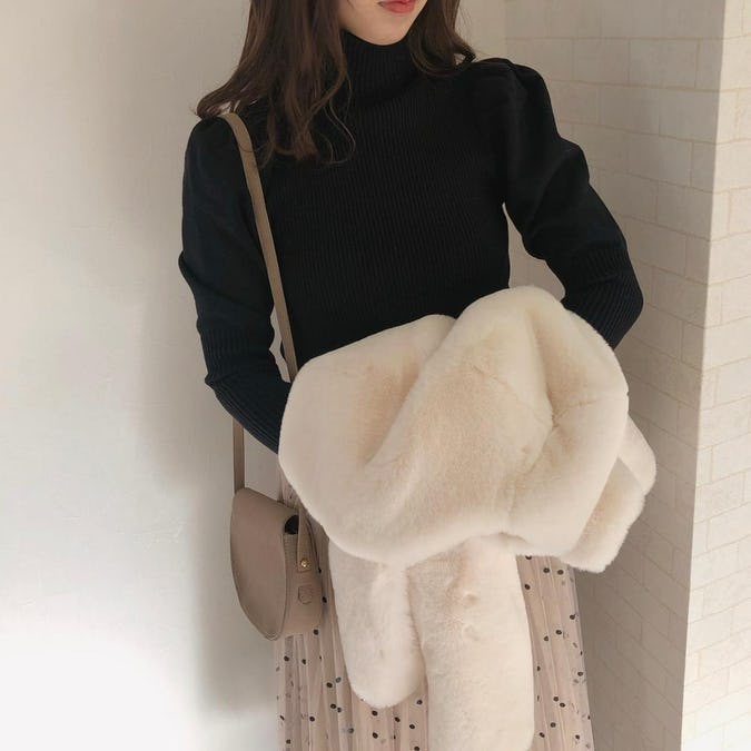 highneck puff knit