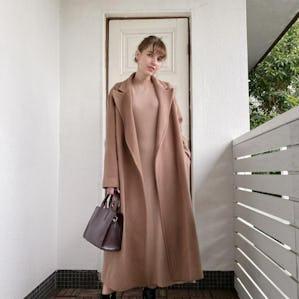 dusty pink long coat