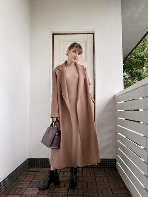dusty pink long coat