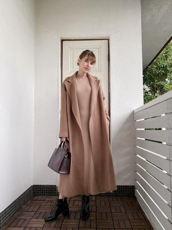 dusty pink long coatの画像1枚目