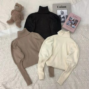 highneck puff knit