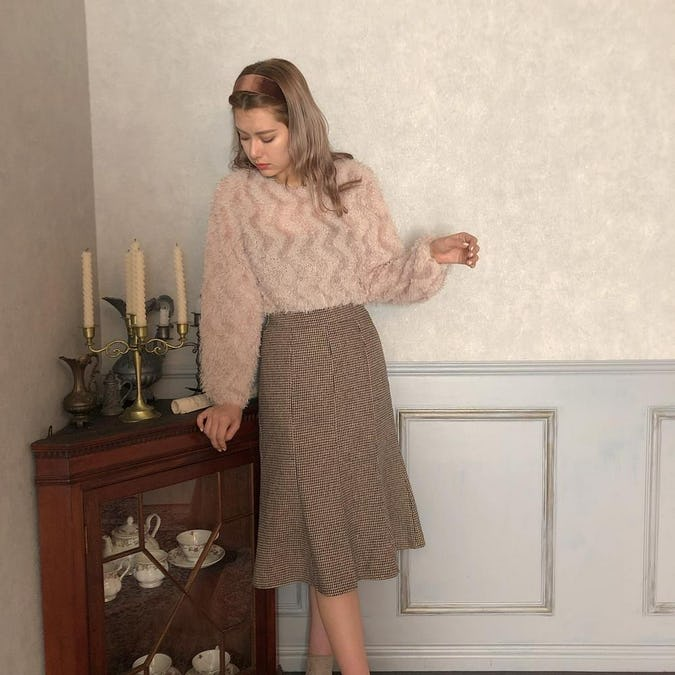 otona check skirt
