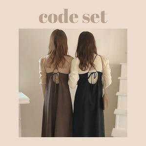 back ribbon cami op & highneck puff knit