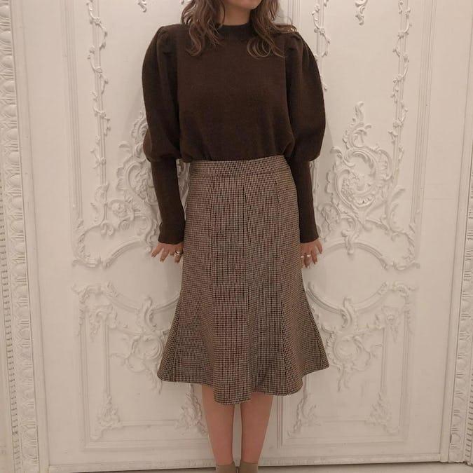 otona check skirt-0