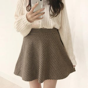 check flare mini skirt