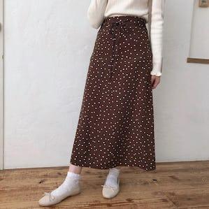 ブラウンドットスカート