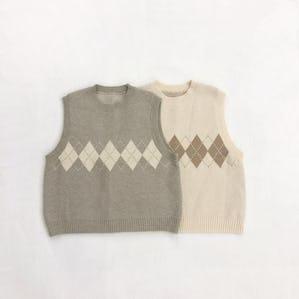 pale color argyle Knit vest