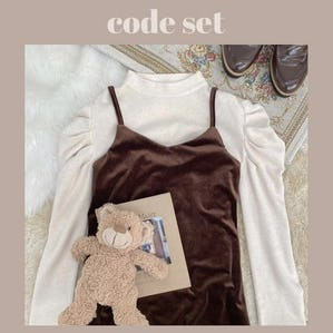 【1/29~順次発送】natural puff knit & brown velvet cami op