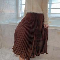 glitter long skirt (BEIGE,BROWN)