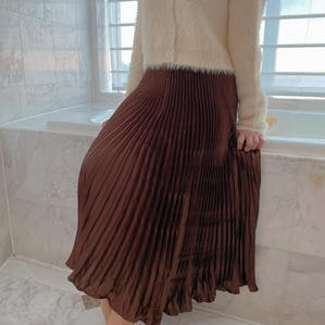 glitter long skirt (BEIGE,BROWN)
