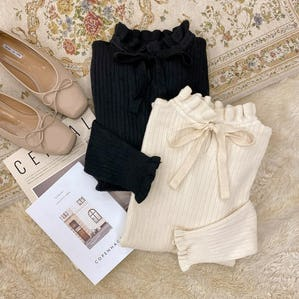 ribbon frill neck knit