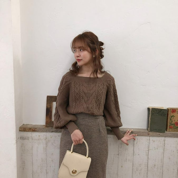 brown square knit & brown check sk-0