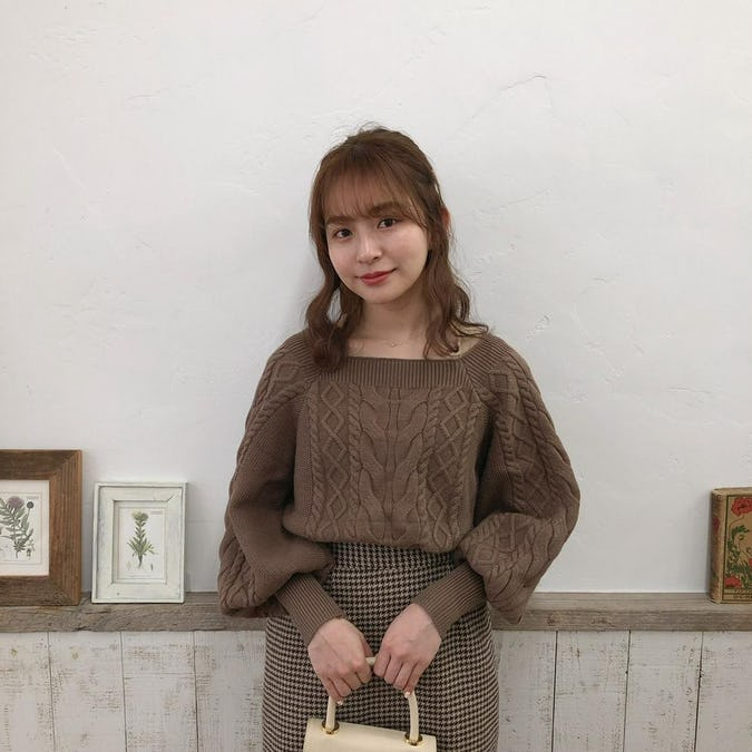 brown square knit & brown check sk