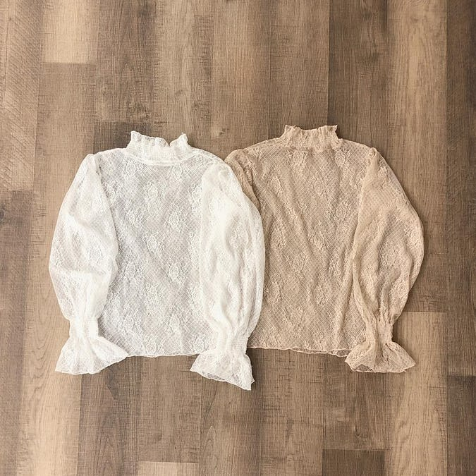 flower lace seethrough tops-0