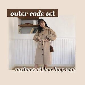 mellow's ribbon longcoat SET