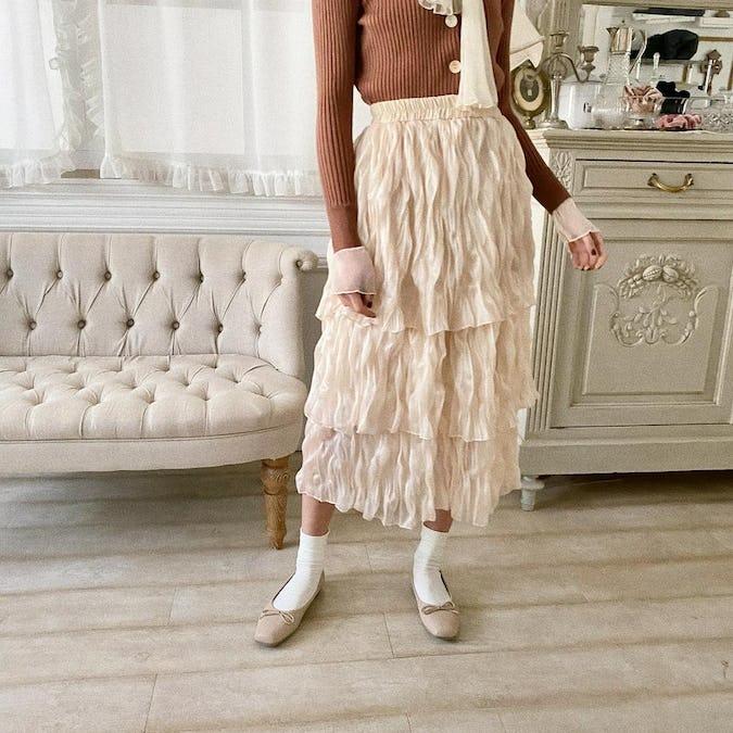 chiffon tiered skirt