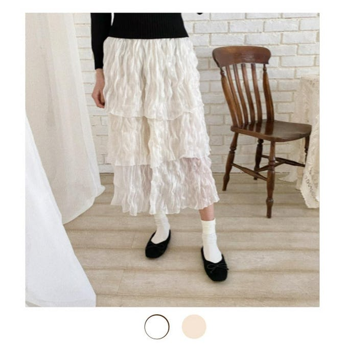 chiffon tiered skirt-0