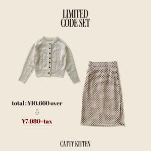 vintage button knit(IVORY)× dot tight skirt(IVORY)