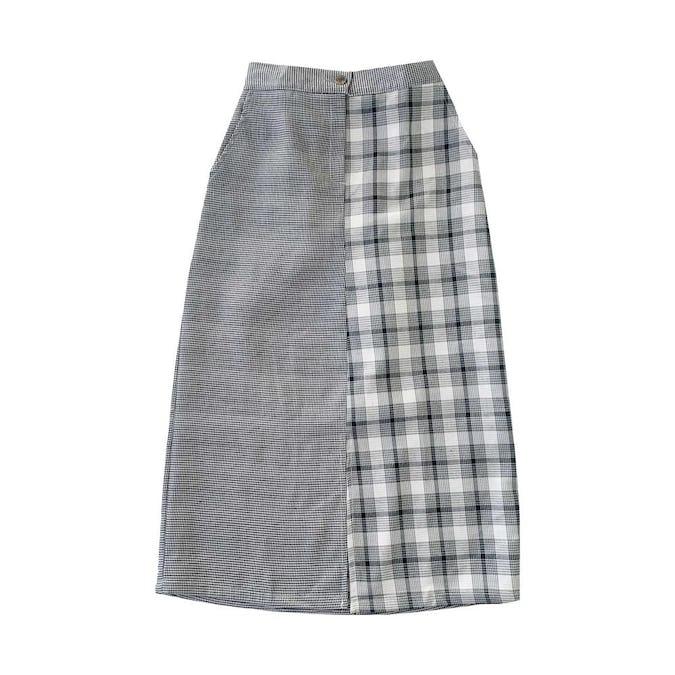 チェックロングスカート-0