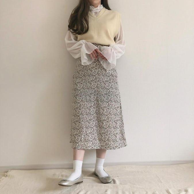 ヴィンテージフラワーフレアスカート