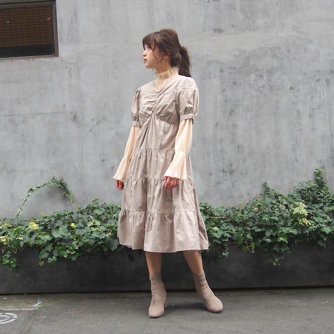 【felicità】パフスリーブティアードワンピース-0