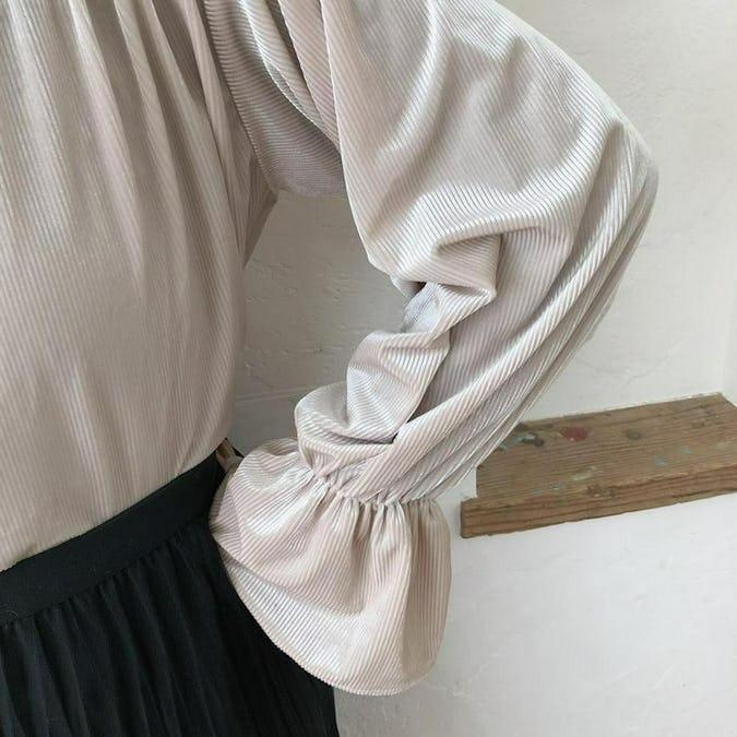 シャインリボンブラウス&ブラウンドットスカート