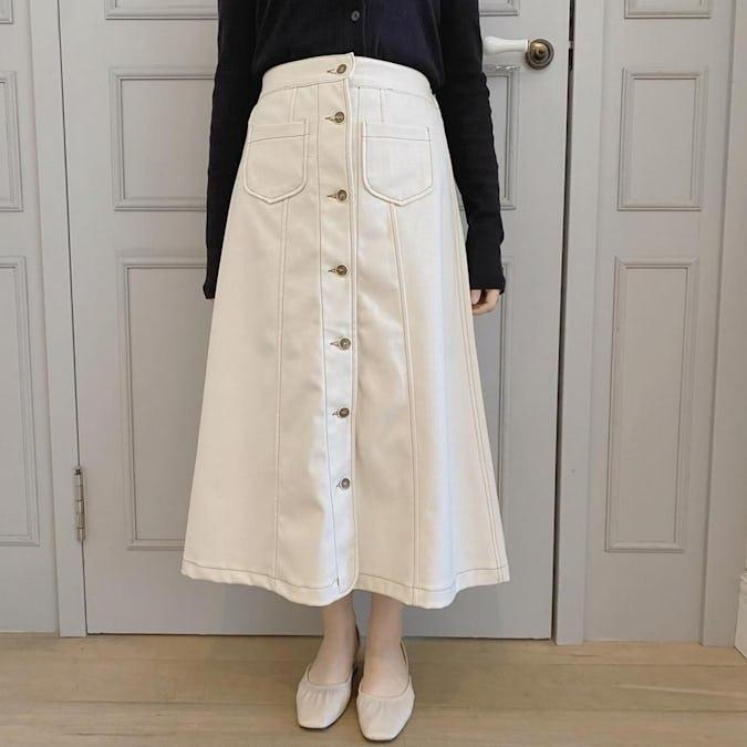 ステッチボタンスカート-0