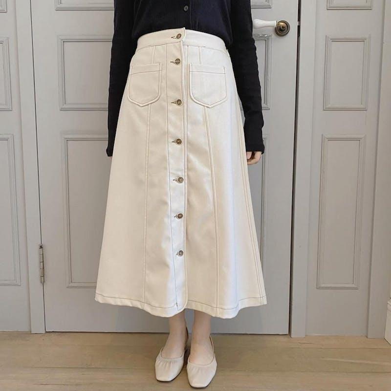 ステッチボタンスカートの画像1枚目