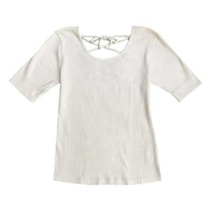 リボンレースアップTシャツ