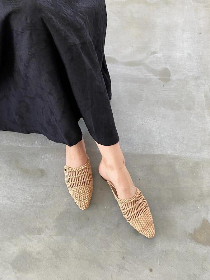 raffia flat sandal