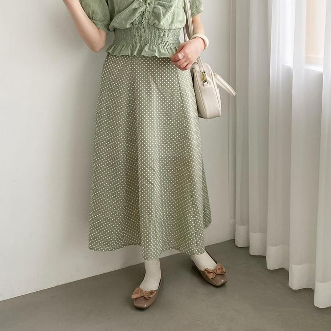 Aラインドットスカート-0