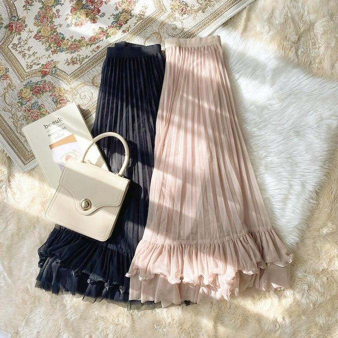 裾フリルラインスカート-0