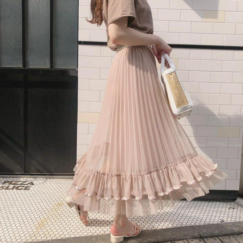 裾フリルラインスカートの画像2枚目