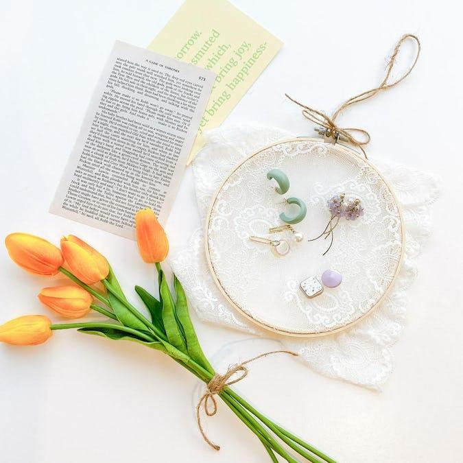 お花レースのアクセ刺繍フープ-0