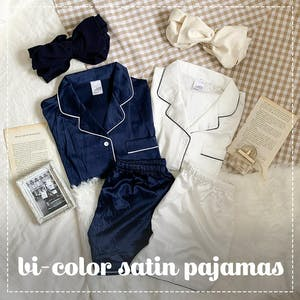 バイカラーサテンパジャマ