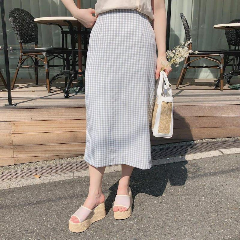 ギンガムチェックタイトスカートの画像1枚目