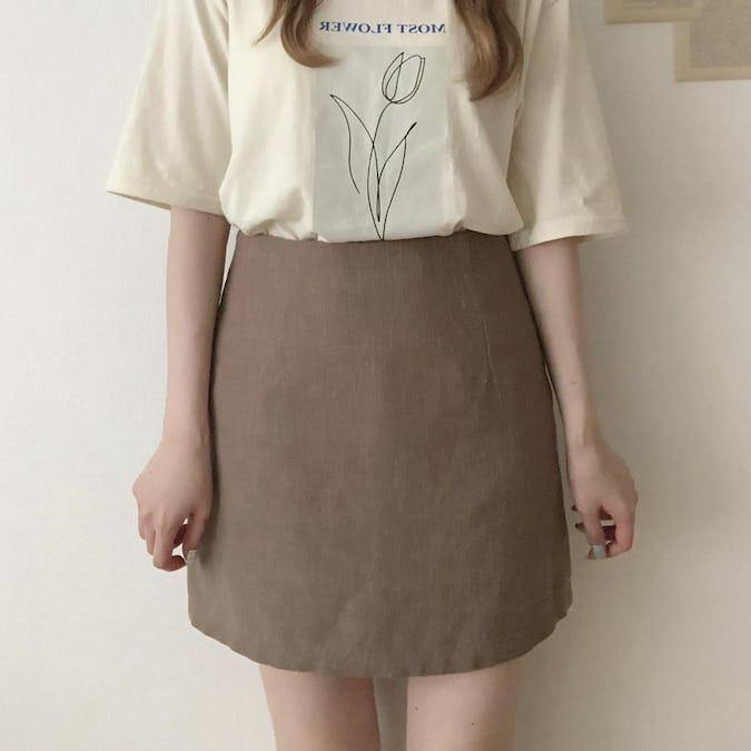 リネン台形スカート-0