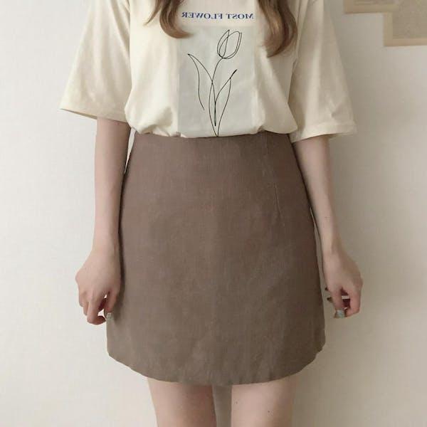 リネン台形スカートの画像1枚目