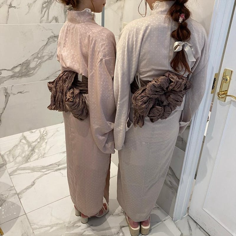 dot satin yukata     (pink/beige)の画像14枚目