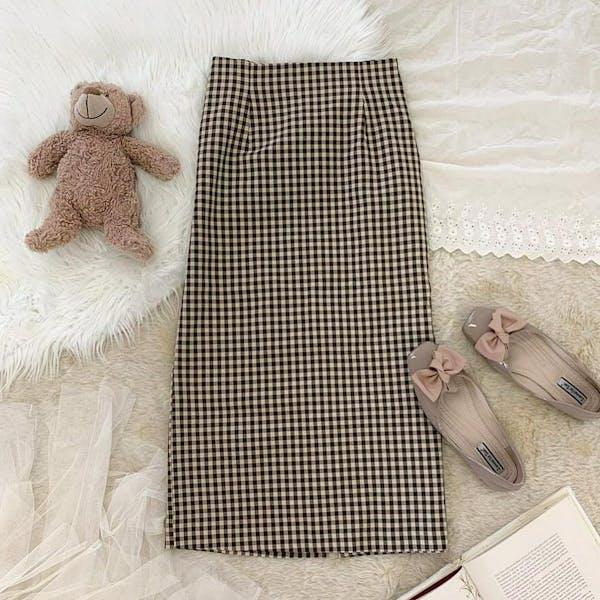 チェックタイトスカートの画像1枚目