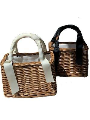 ribbon kago bag     (white/black)