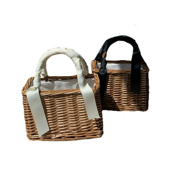 ribbon kago bag     (white/black)-0