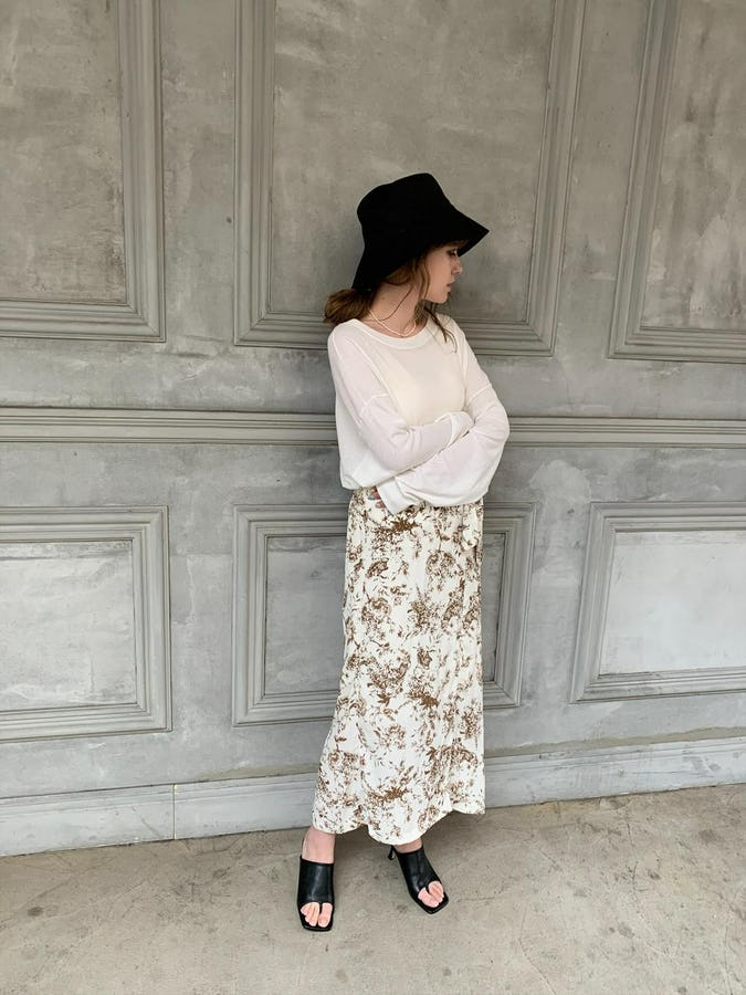 retro flower skirt  ( brown / black )