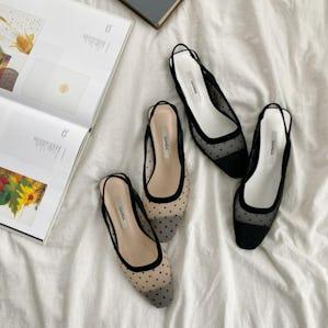 sheer dot  flat shoes