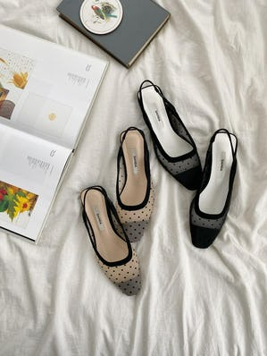 sheer dot  flat shoes